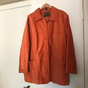 St John's Bay * suede leather coral button coat 3x